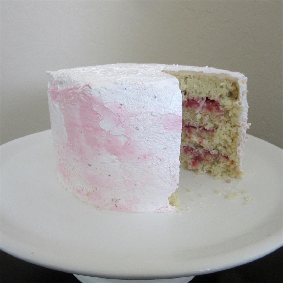 Coconut Cake with Strawberry Compote and Buttercream