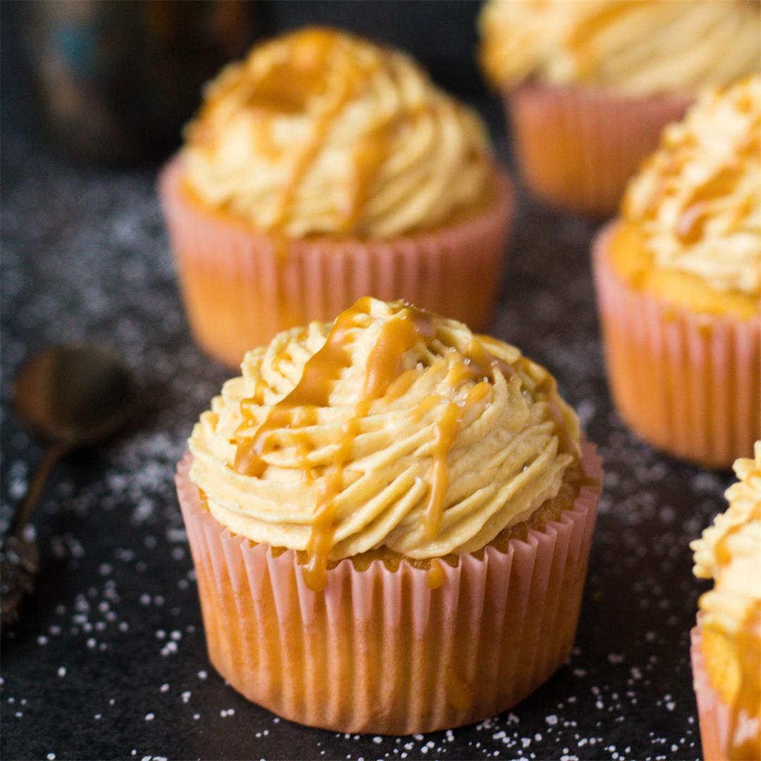 Salted caramel cupcakes with cream cheese frosting