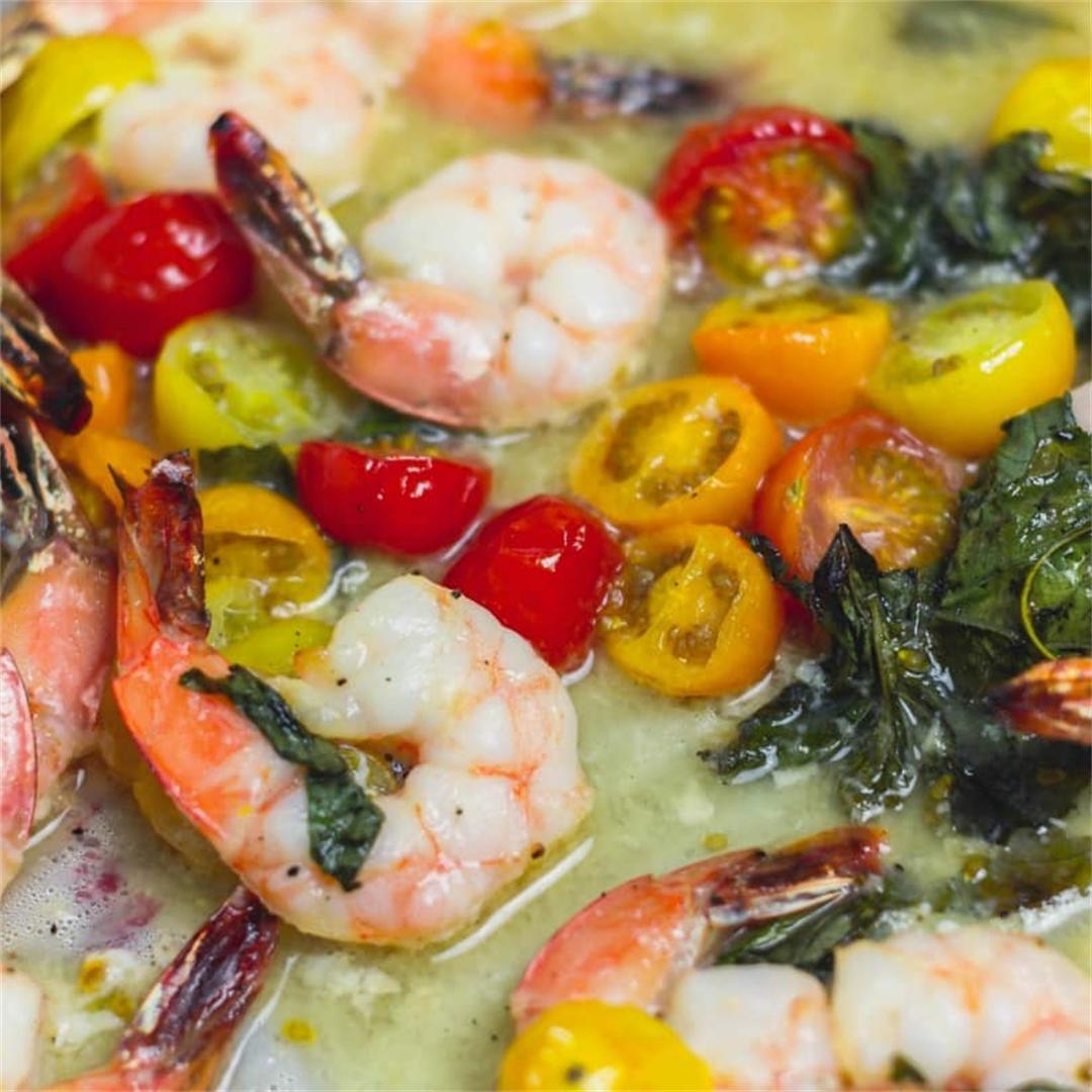 Sheet Pan Shrimp Bruschetta