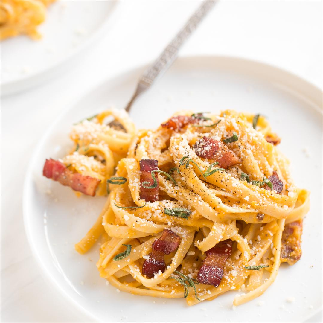 Winter Squash Carbonara Pasta