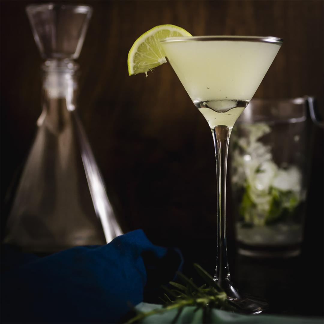 A Winter Gin Gimlet with fresh lime and rosemary
