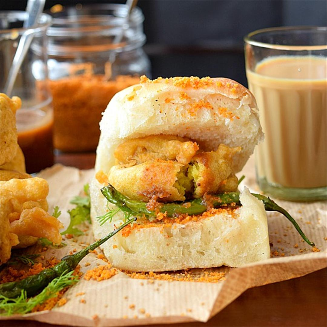 Mumbai's famous street food - Vada Pav served with cutting Chai
