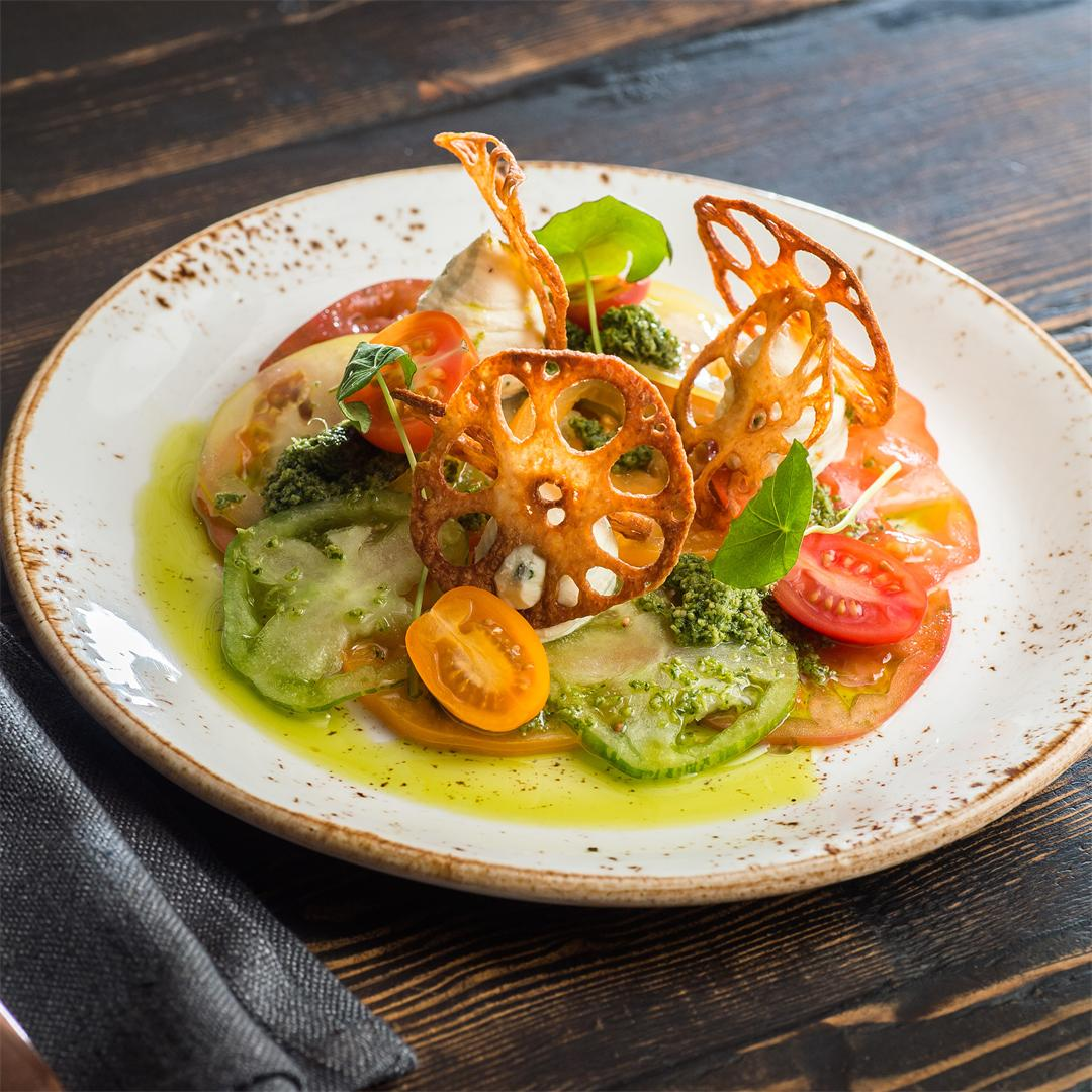 Heirloom tomato, whipped paneer, peanut and coriander chutney
