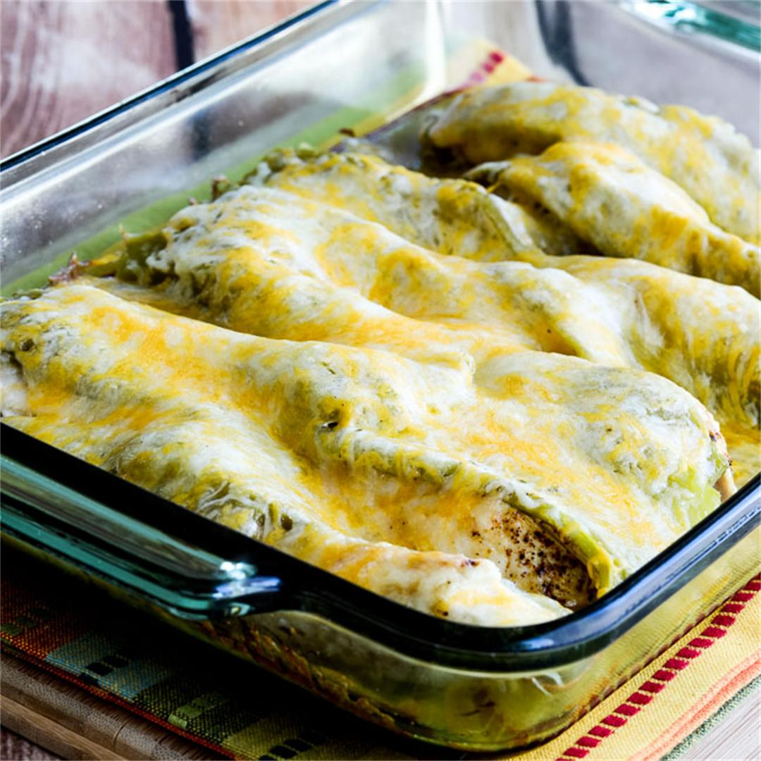 Low-Carb Twice Cooked Chicken with Green Chiles and Cheese