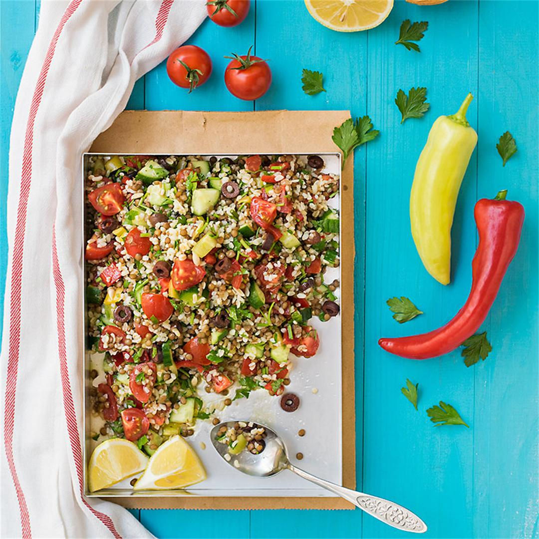 Mediterranean bulgur & lentil lunch salad
