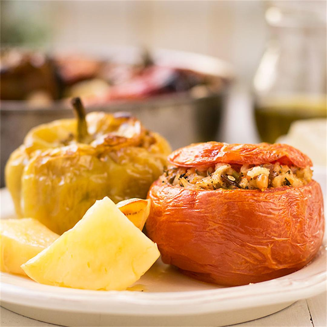 Meatless Greek Stuffed Vegetables (Gemista)