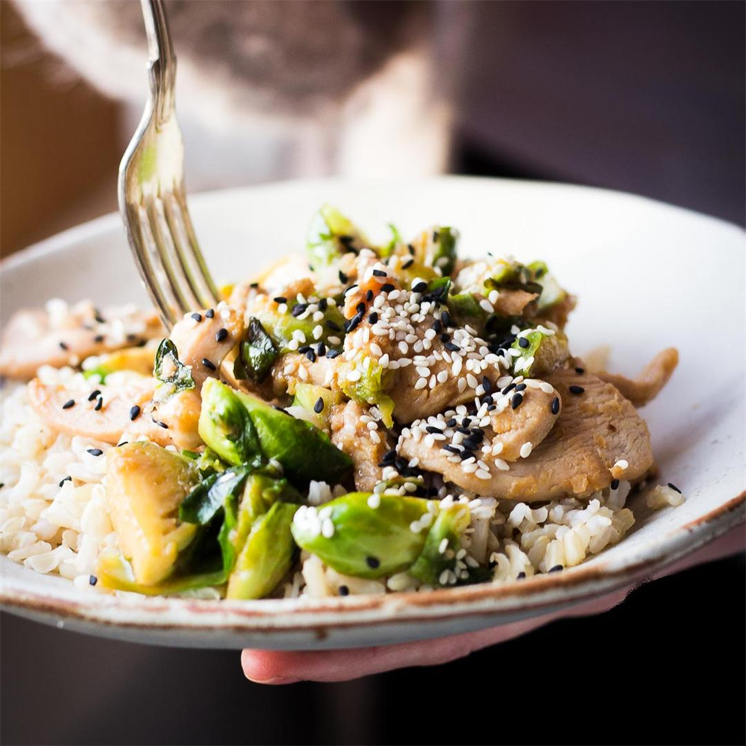 Chicken & Brussels Sprouts Stir Fry