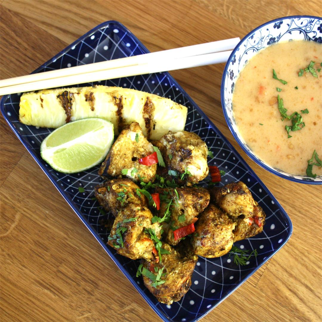 Chicken Satay with Grilled Pineapple