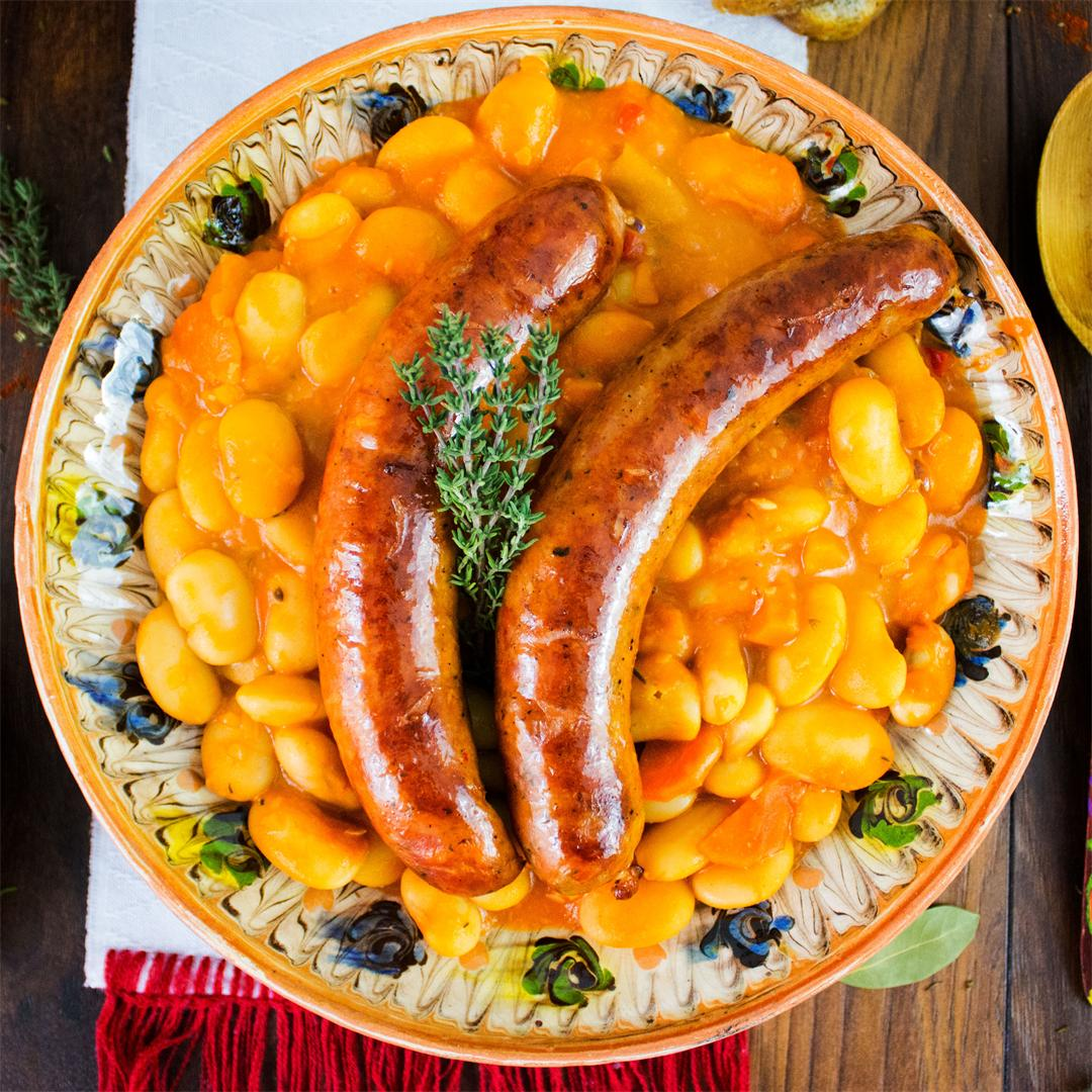White bean stew with sausages