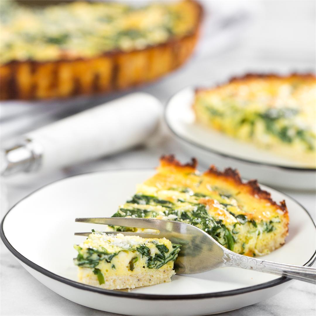 Spinach and Feta Quiche with Cauliflower Crust