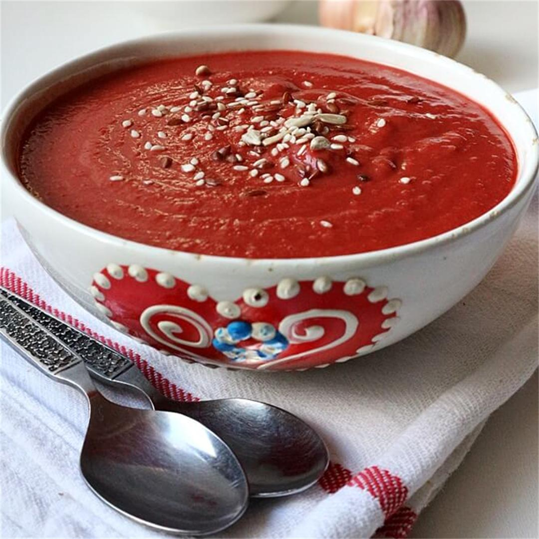 Creamy Beet & Bean Soup (vegan)