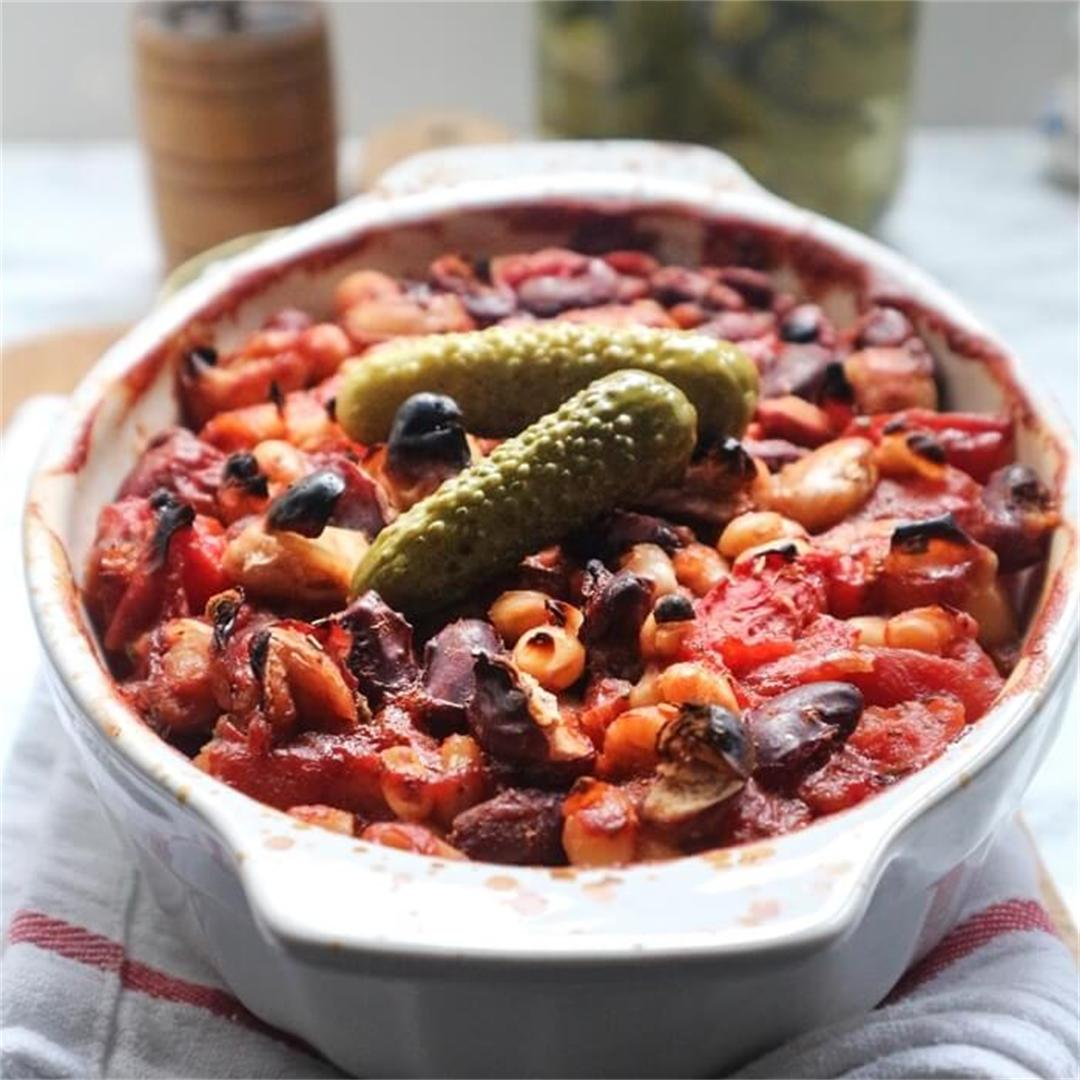 Vegan Baked Three Bean Chilli