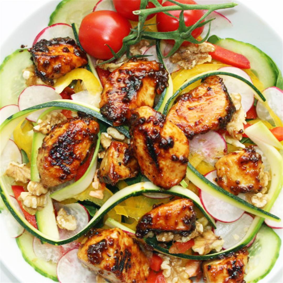 Honey & Mustard Marinated Chicken on a Raw Salad
