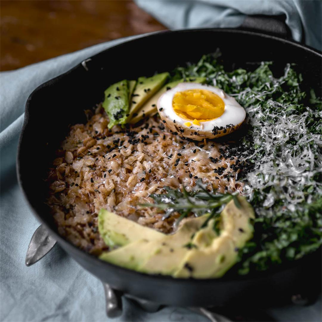 Savory Cast Iron Oatmeal with pickled egg, avocado and kale