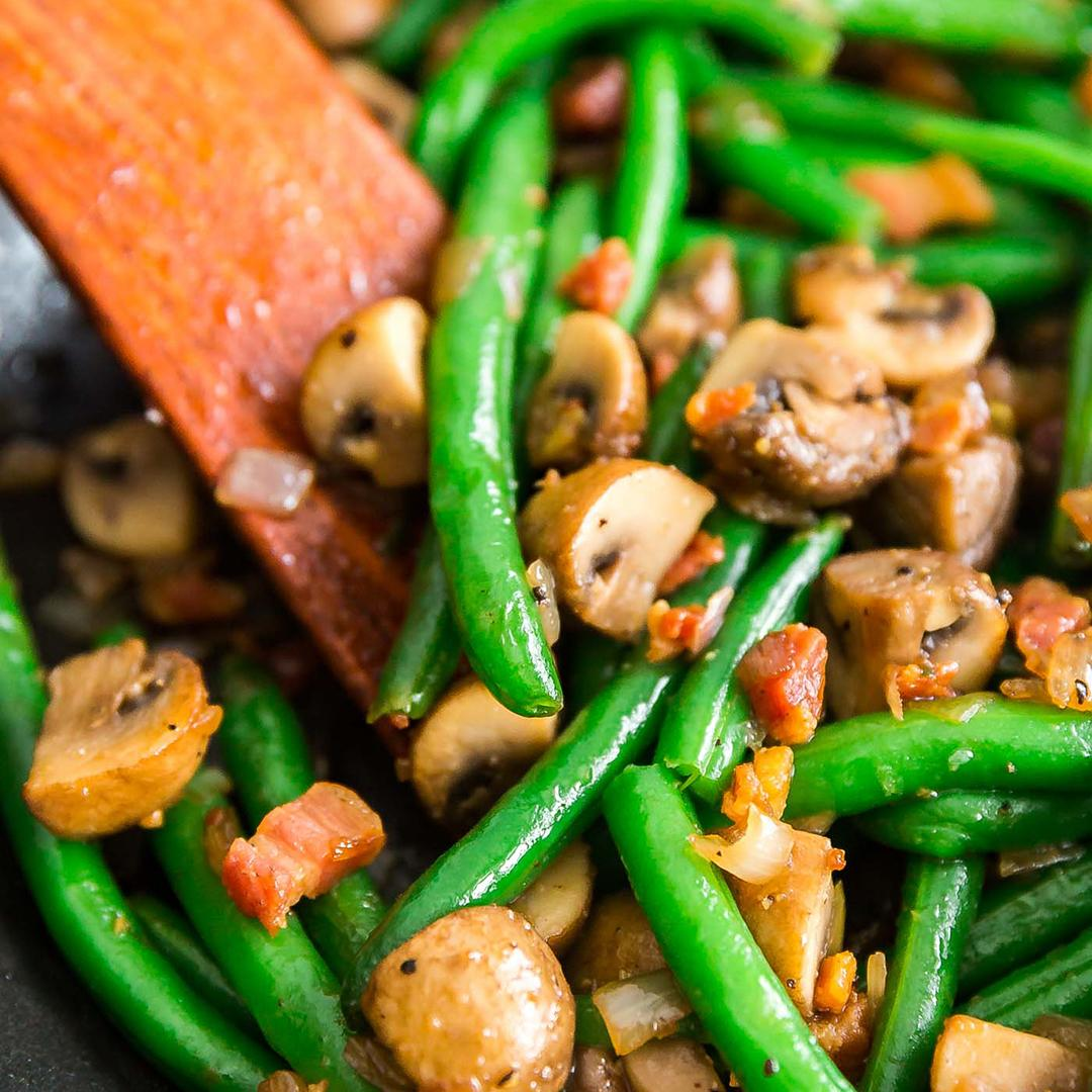 Sauteed Green Beans with Mushrooms, Shallots and Pancetta