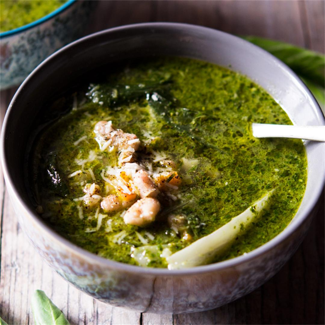 Vibrant Green Soup with Pesto, Greens and Beans
