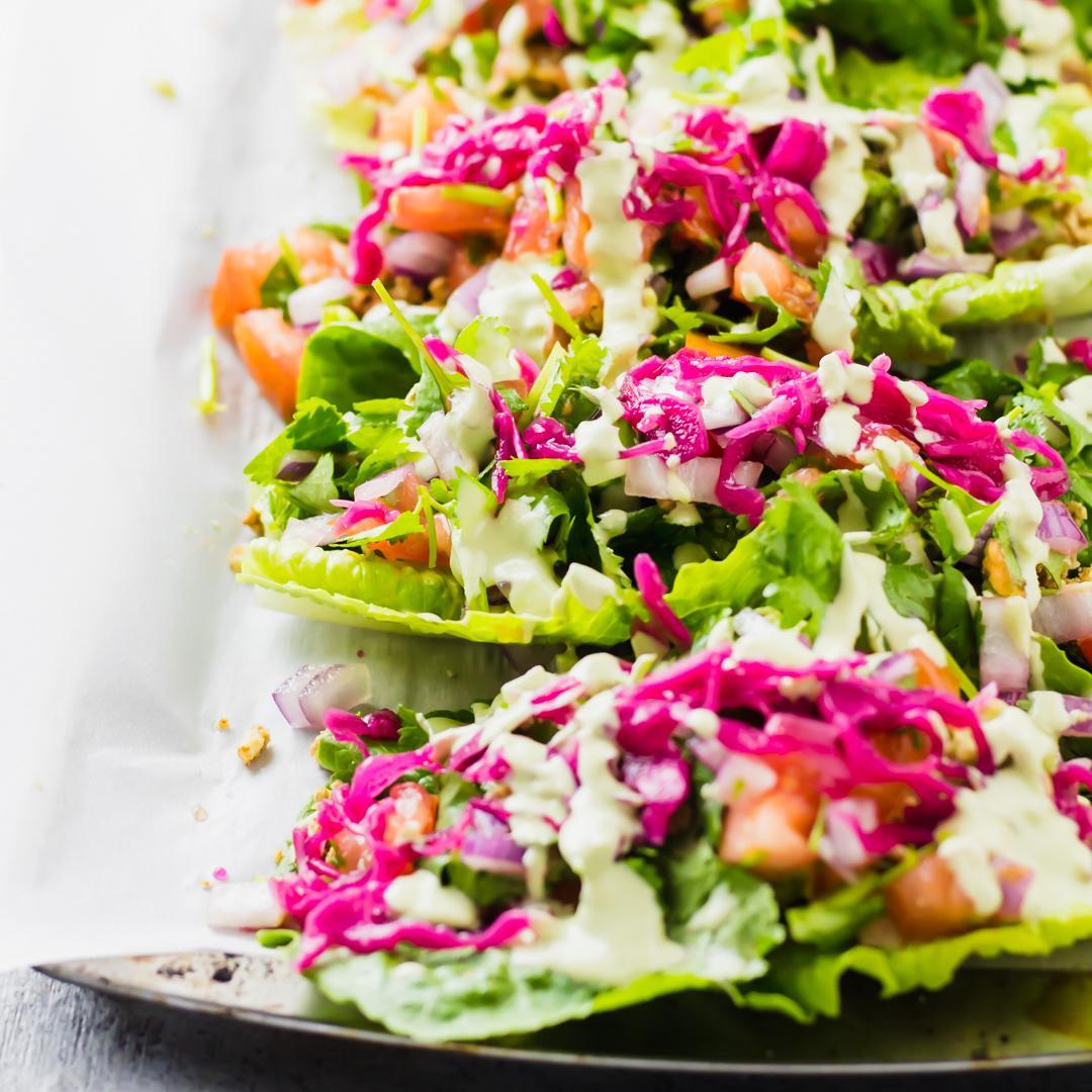Raw Vegan Romaine Lettuce Tacos