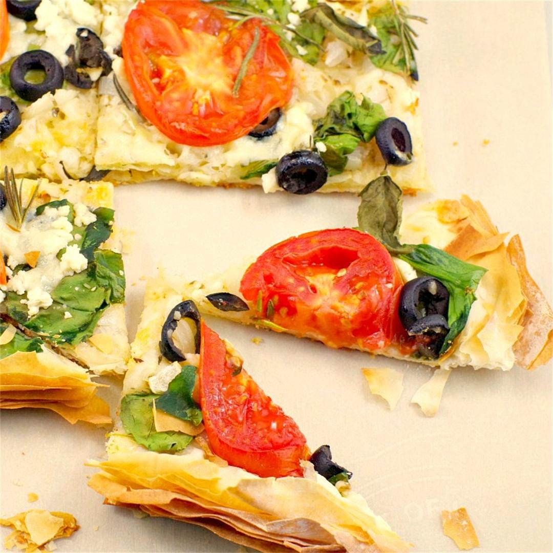 Greek Veggie Phyllo Pizza