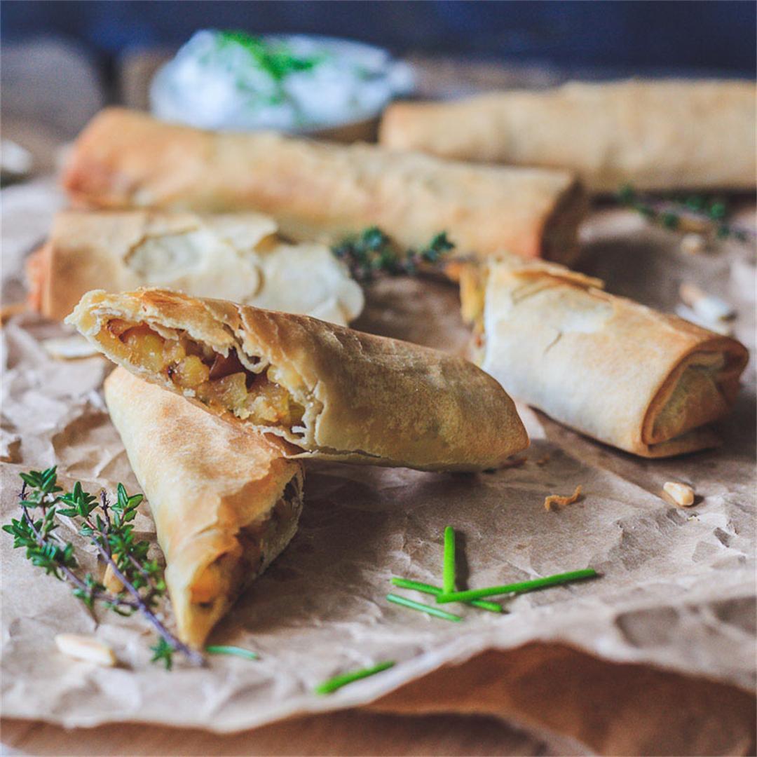 Vegan Crispy Potato Leek Rolls