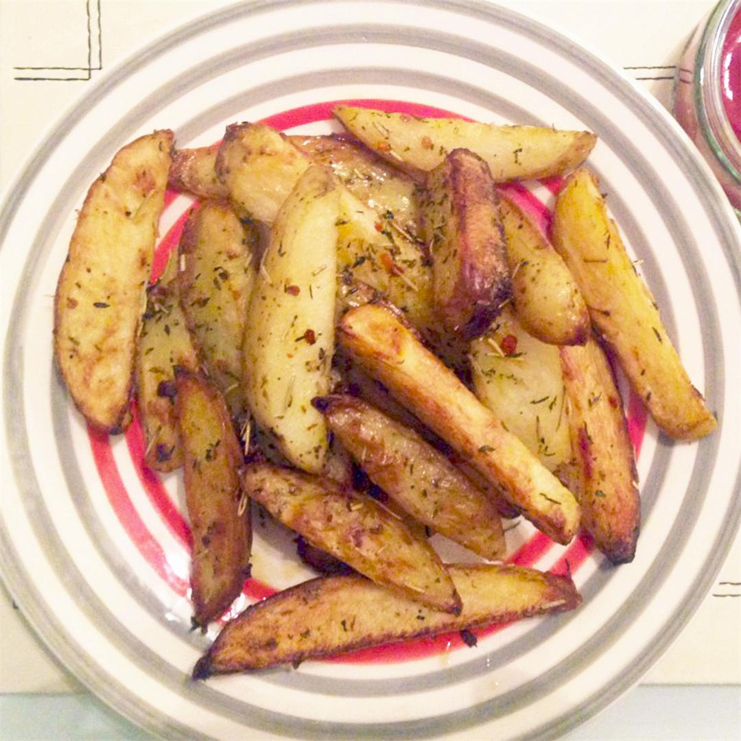 Oven Baked Fries with Herbs & Chili
