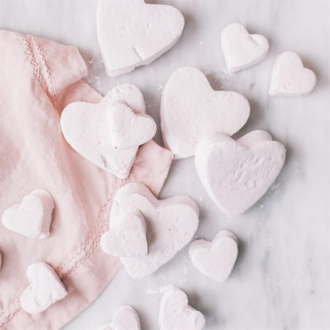 Homemade Raspberry Heart Marshmallows