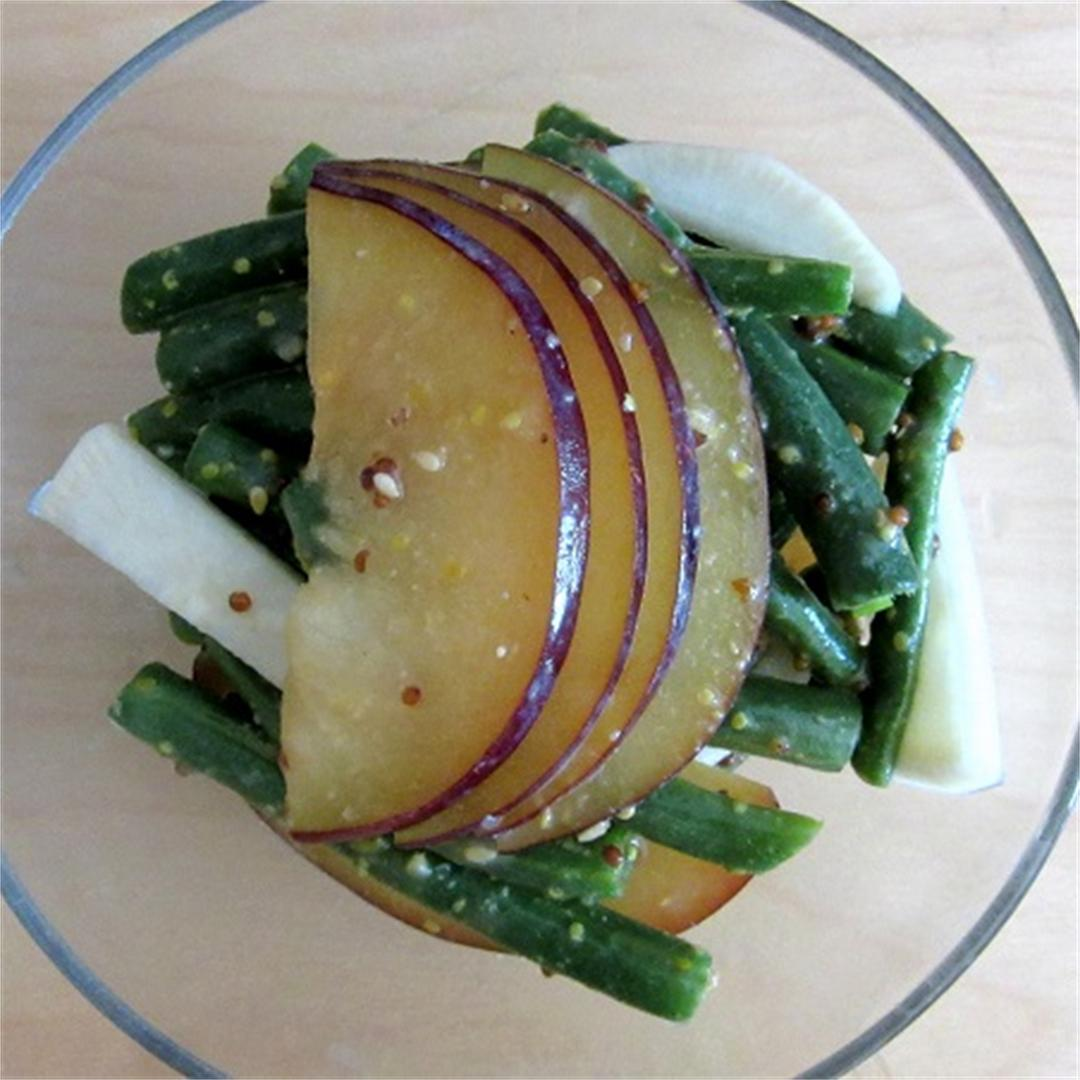 Plum and Green Bean Salad with Miso Dressing