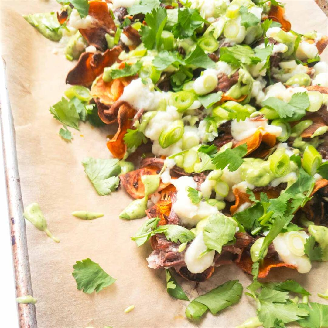 Paleo Sweet Potato Nachos with Shredded Beef