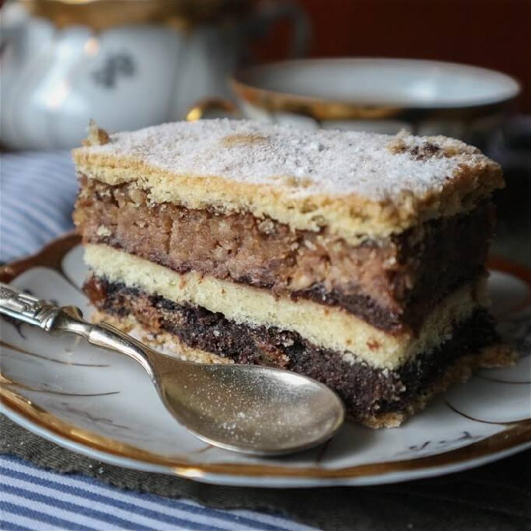 Walnut & Poppy Shortcrust Layer Cake (Vegan)