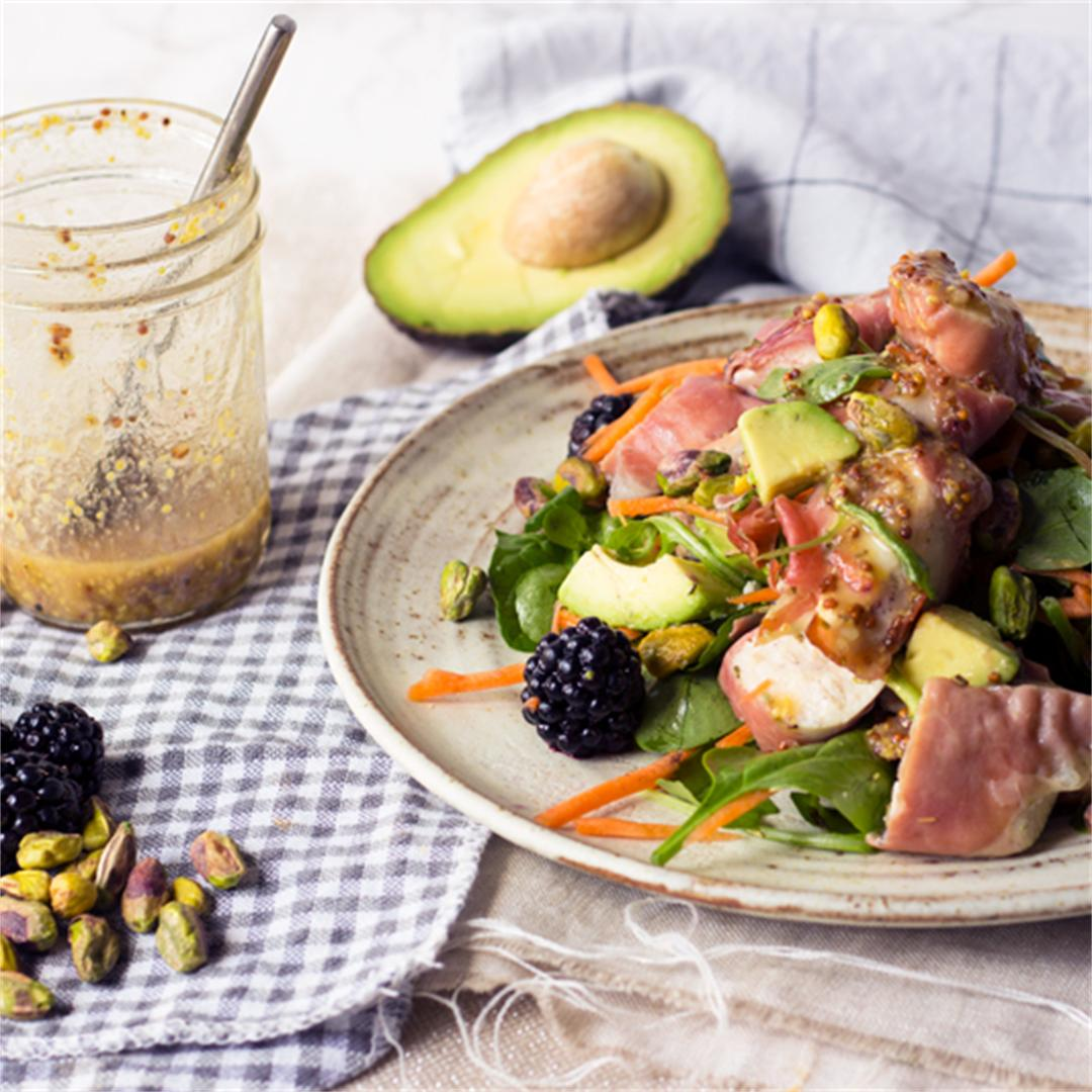 Chicken Prosciutto and blackberry salad