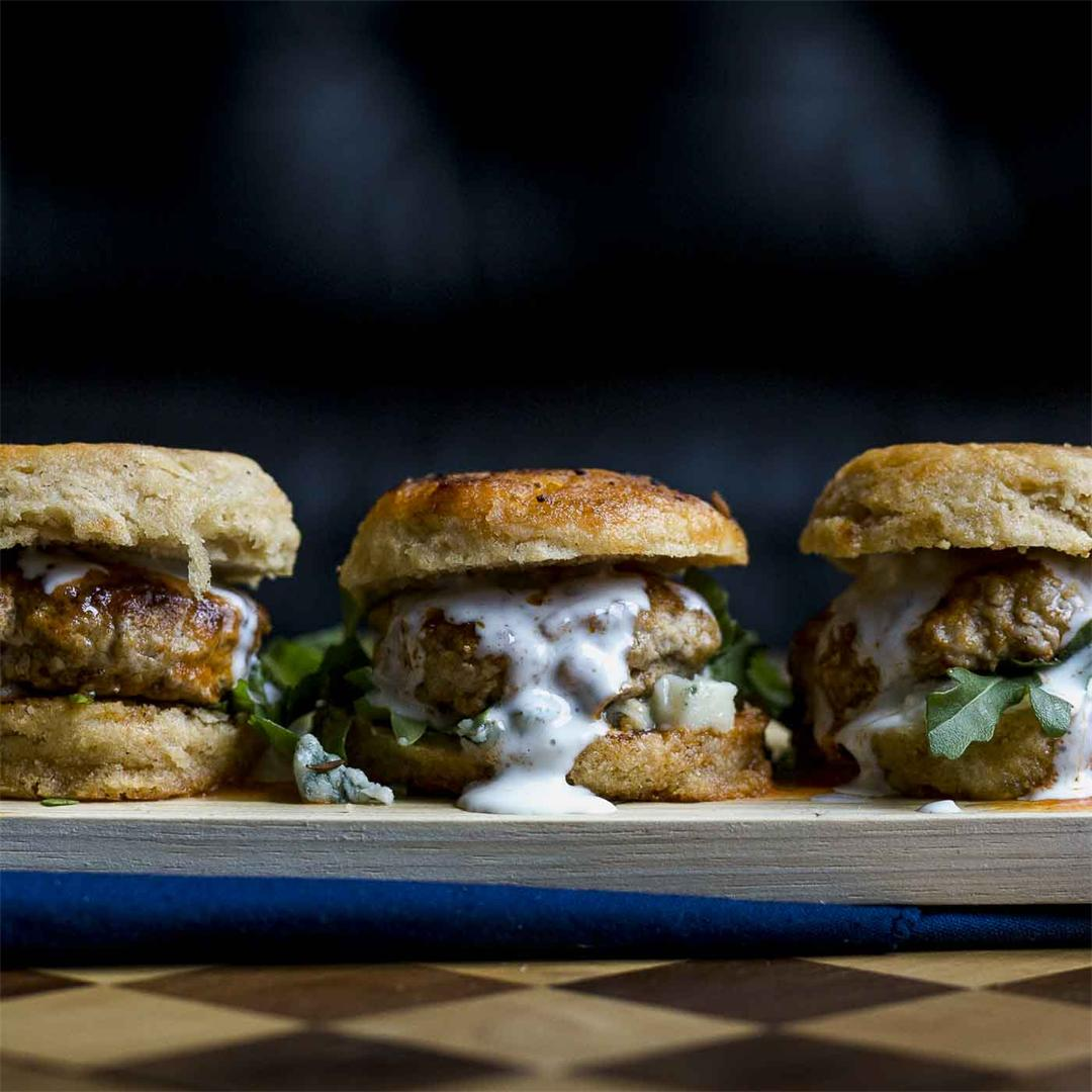 Buffalo Biscuit Sliders with buttermilk blue cheese dressing