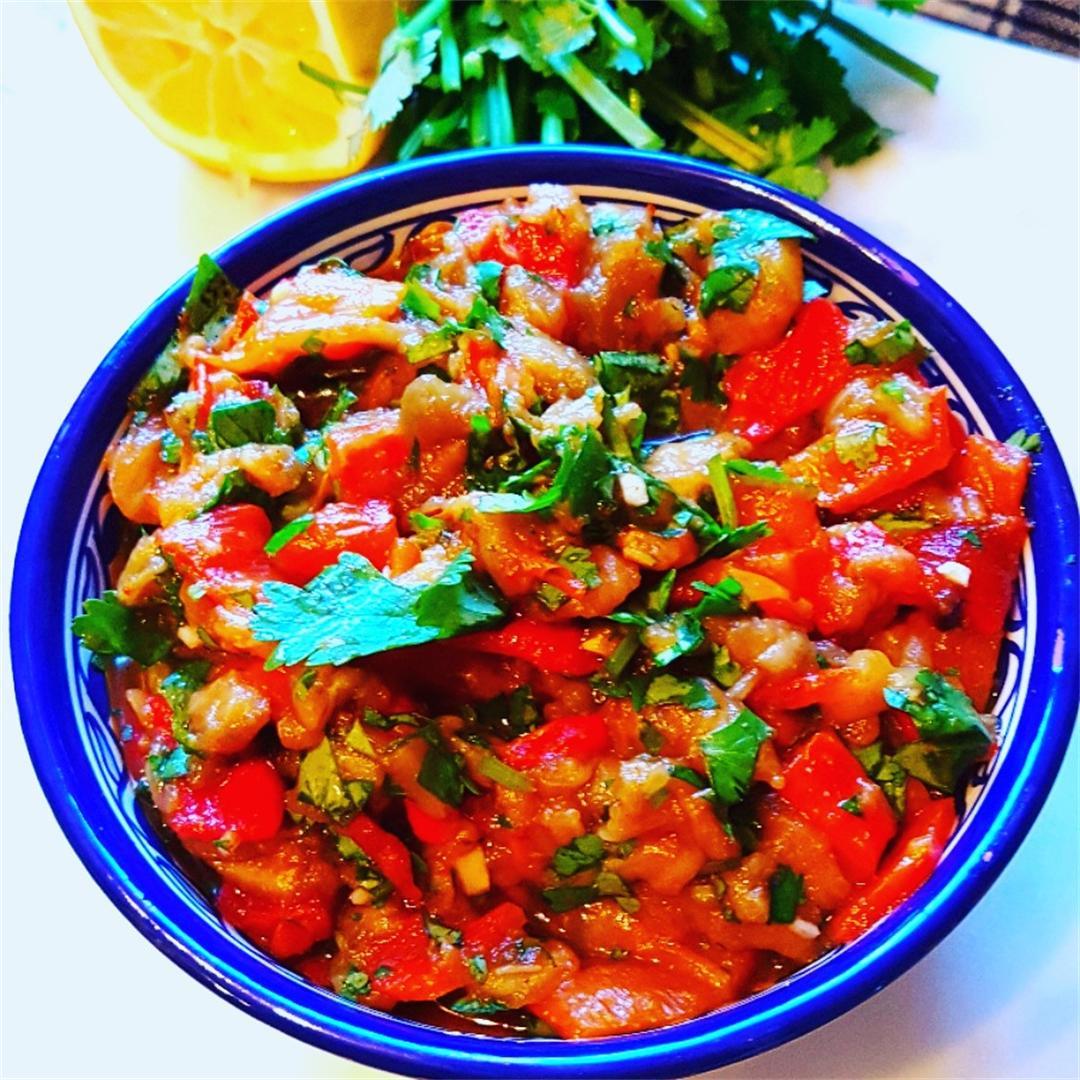 Smokey Aubergine Pepper Salad
