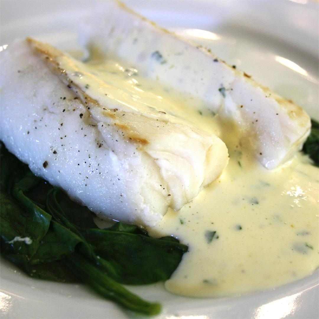 Roast Cod with Basil Mousseline Sauce