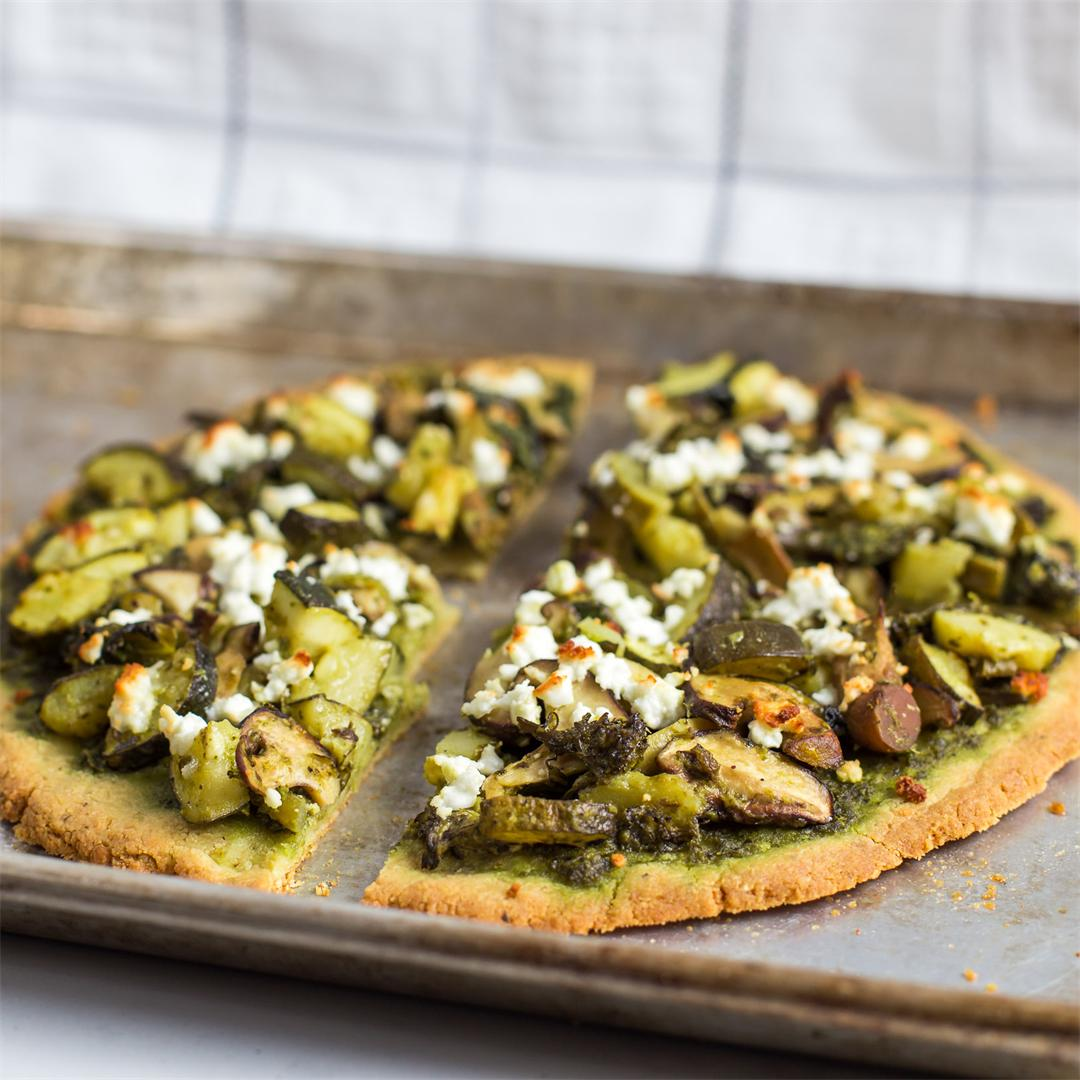 Pesto Pizza with Zucchini and Mushrooms