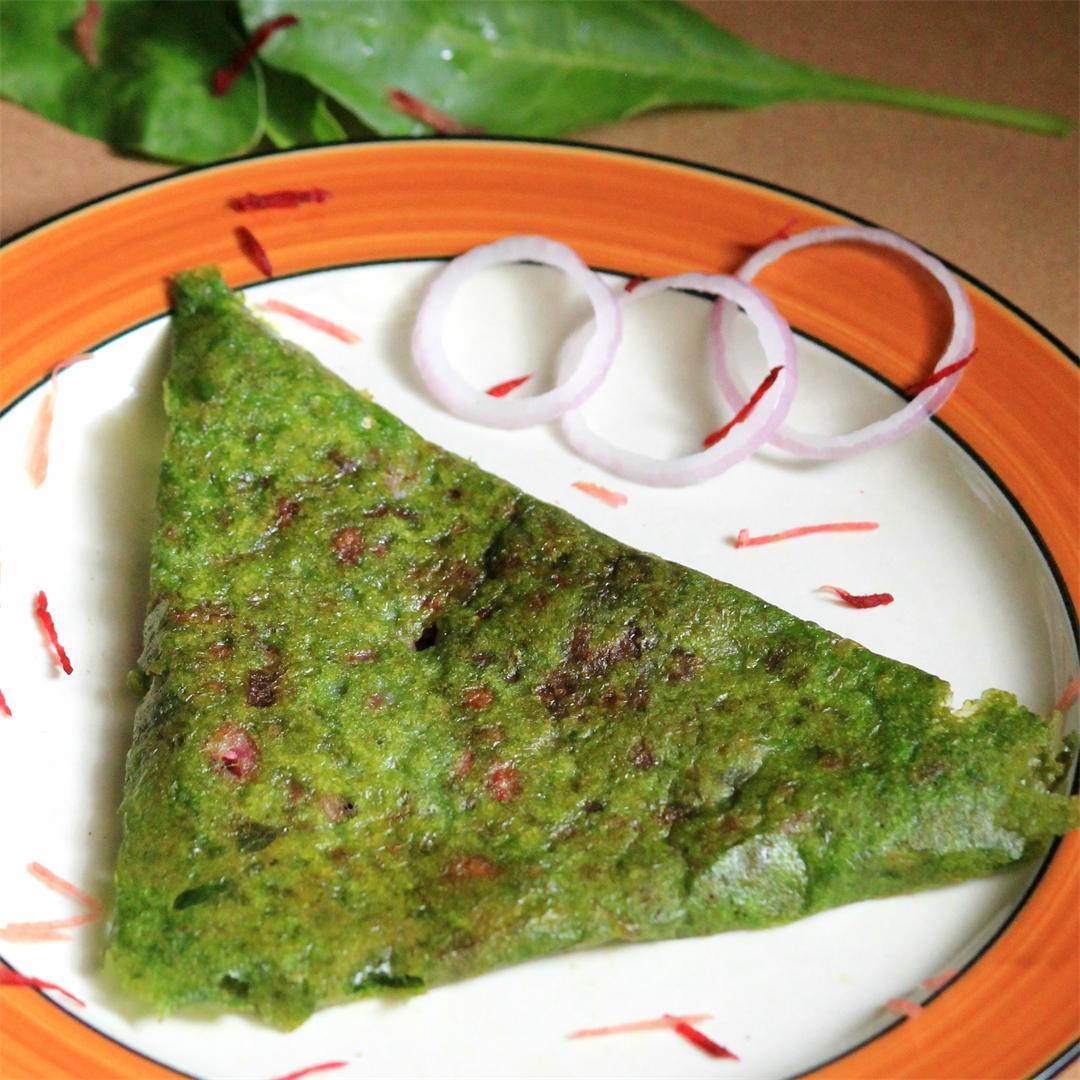 Stuffed spinach rava dosa