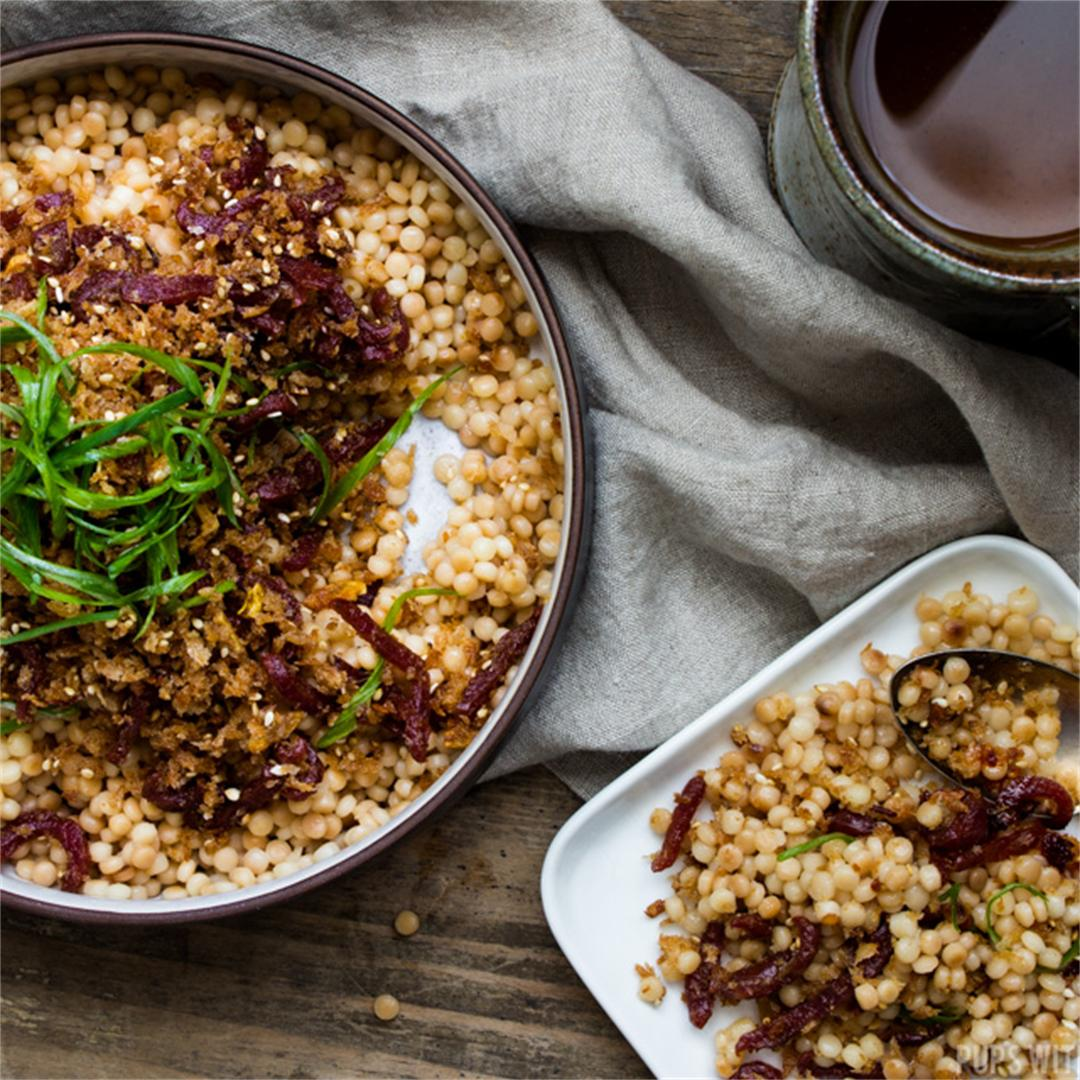Israeli Couscous + Crispy Garlicky Breadcrumb Topping