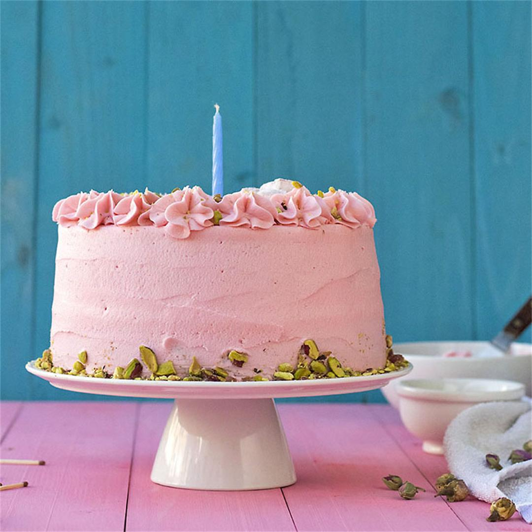 Fluffy pistachio cake with rosewater buttercream