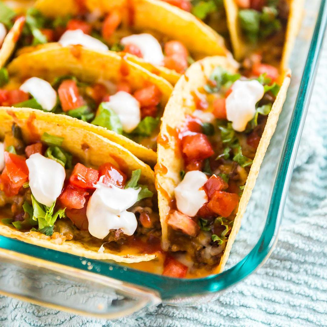 Ground Beef Oven Baked Tacos