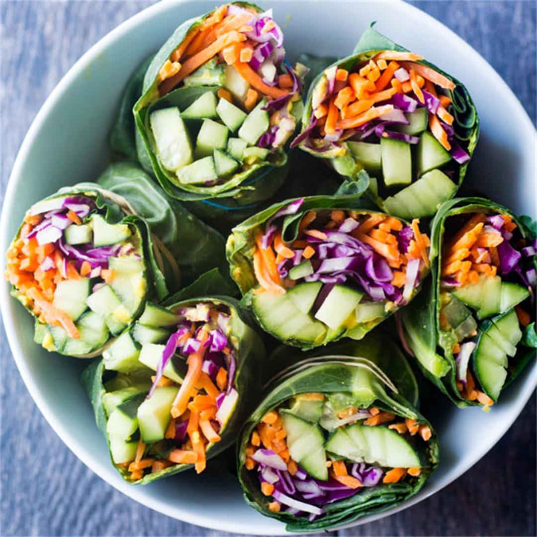 Pistachio Chicken Salad Collard Green Wraps