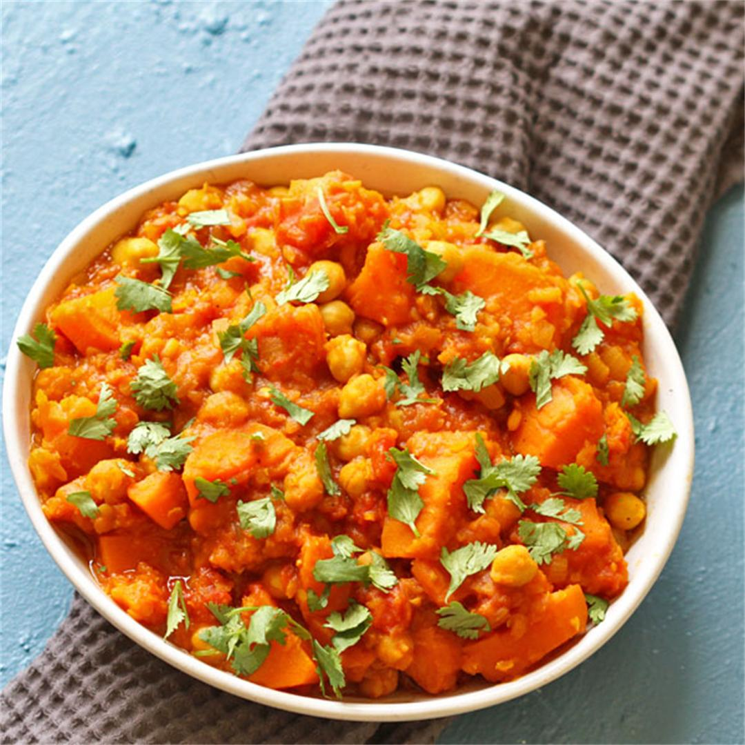 Sweet Potato, Lentil and Chickpea Curry