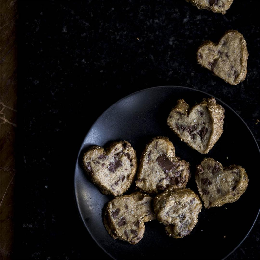 heart shaped, salted butter, milk chocolate, shortbread cookies