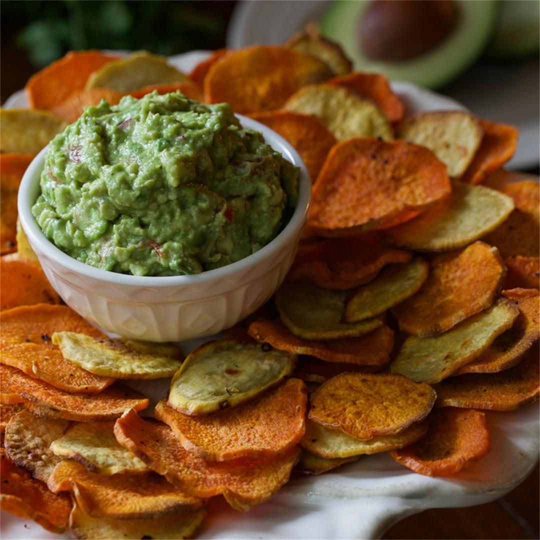 Plant Based Sweet Potato Nochos with Creamy Guacamole