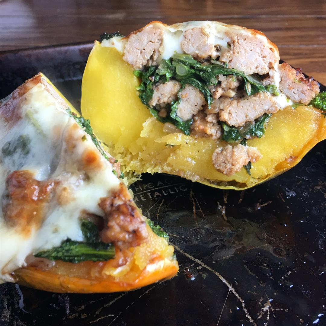 Acorn Squash with Broccoli Rabe and Chicken Sausage
