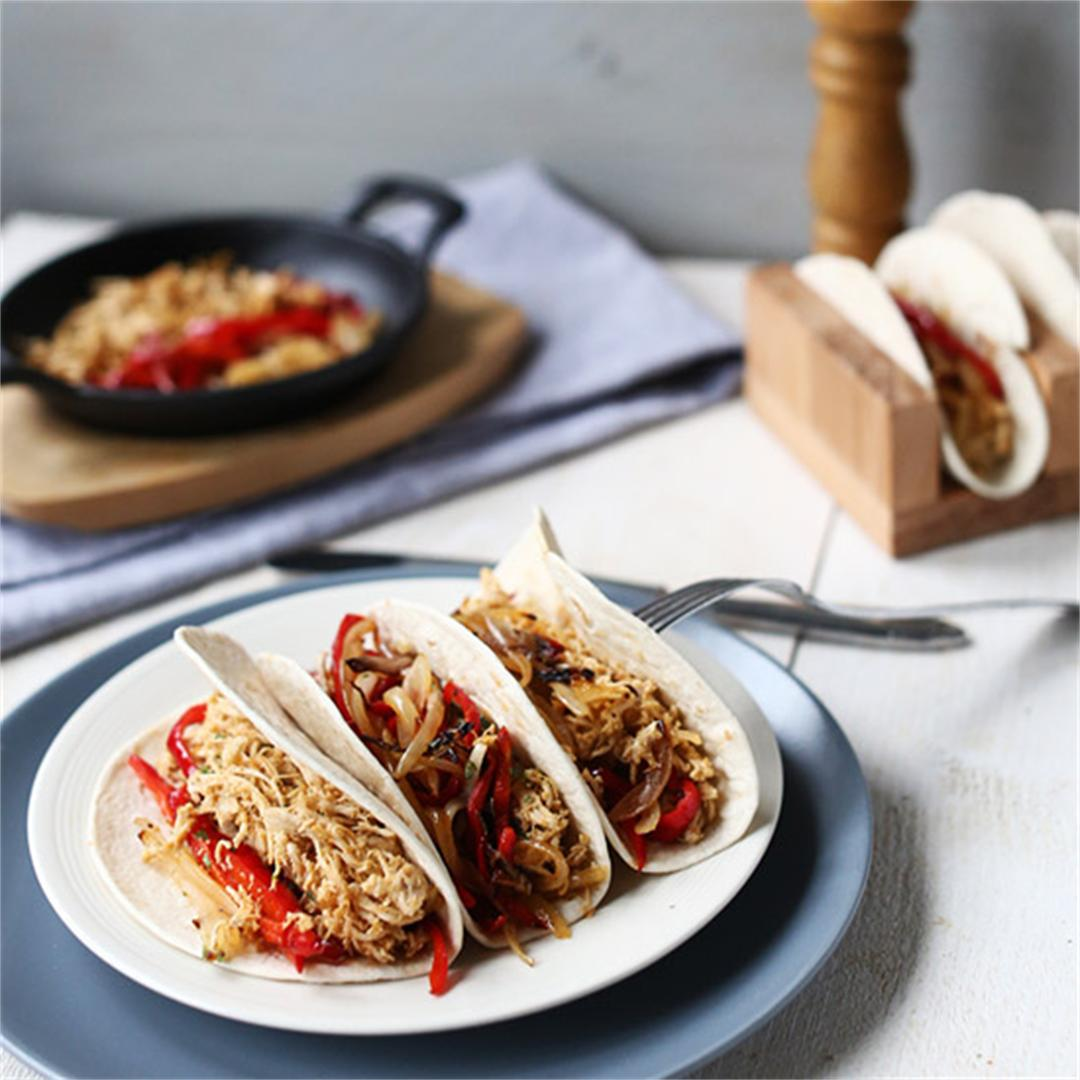 Perfect Pulled Chicken Fajitas