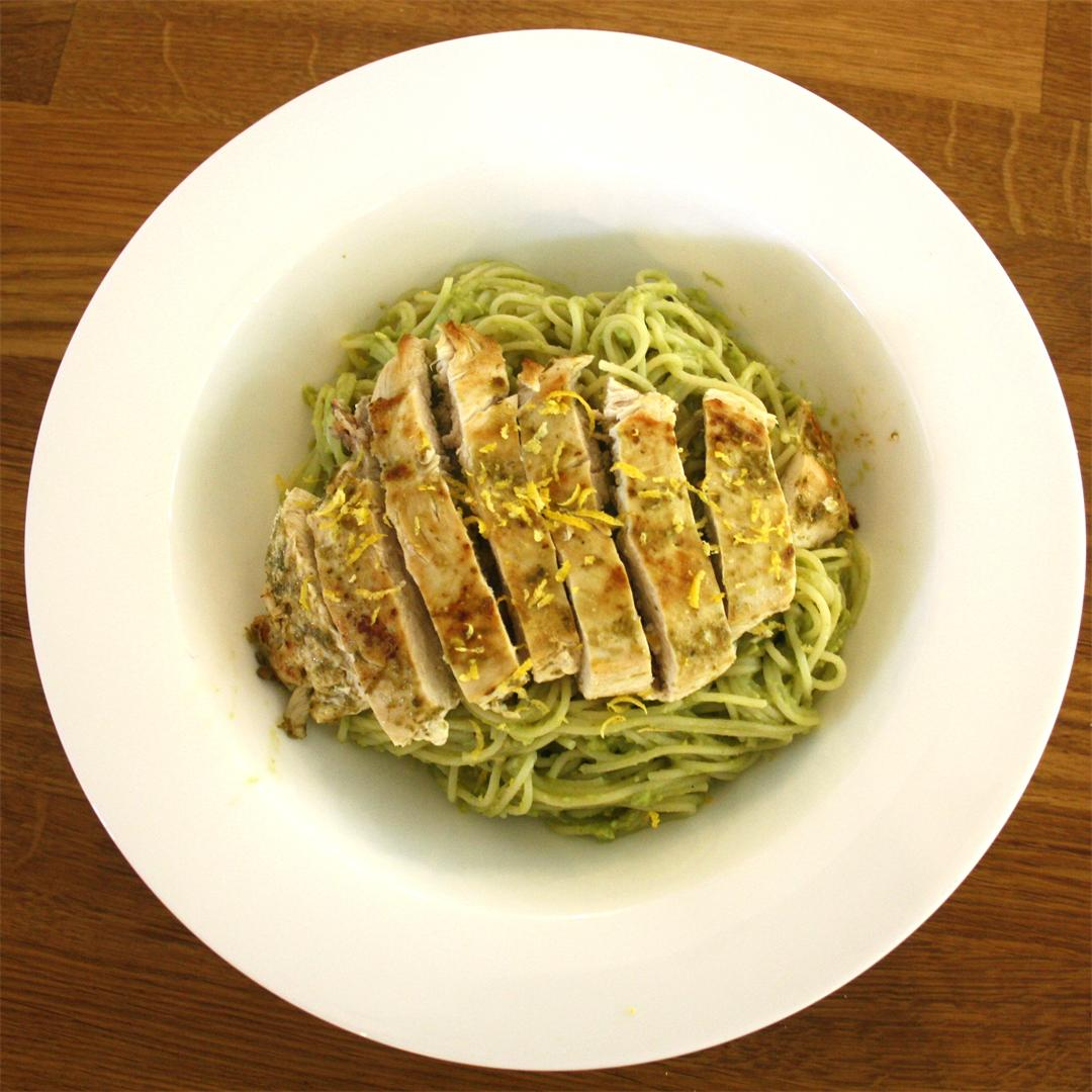 Chicken with Lemon and Avocado Pasta Sauce