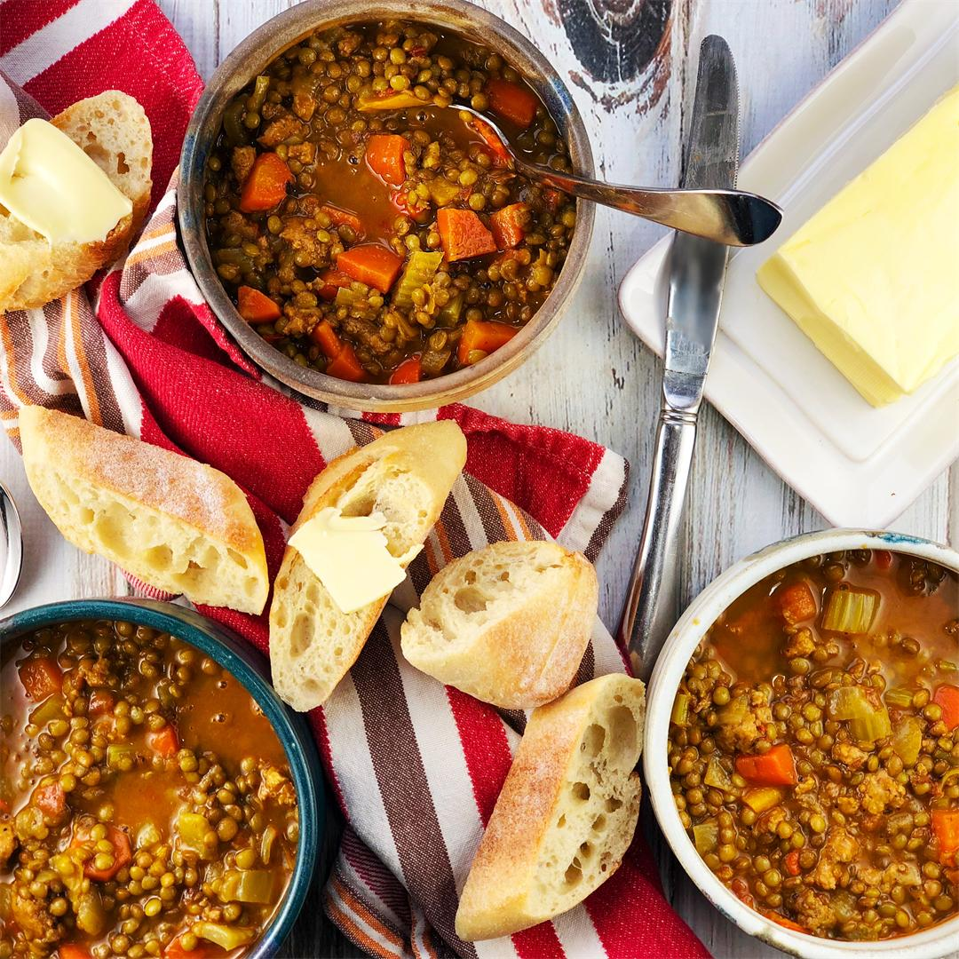 Smoky Lentil Soup with Sausage and Vegetables