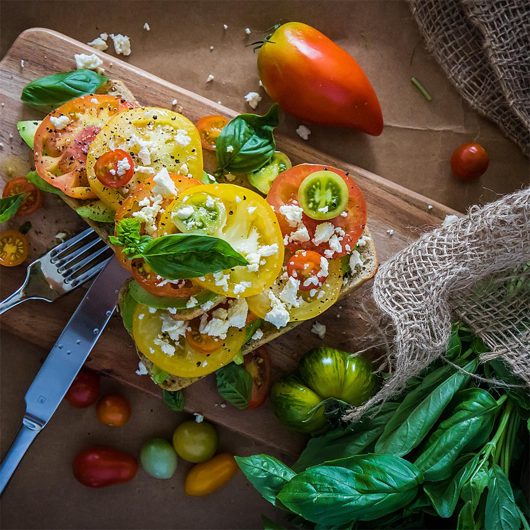 Heirloom tomatoes on toast