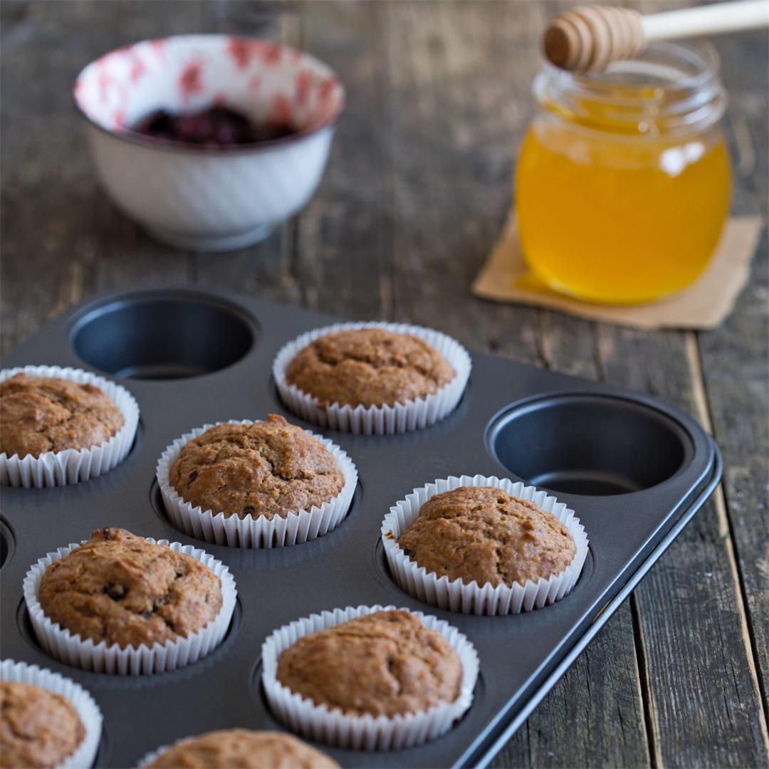 Sugar Free Banana Cranberry Muffins