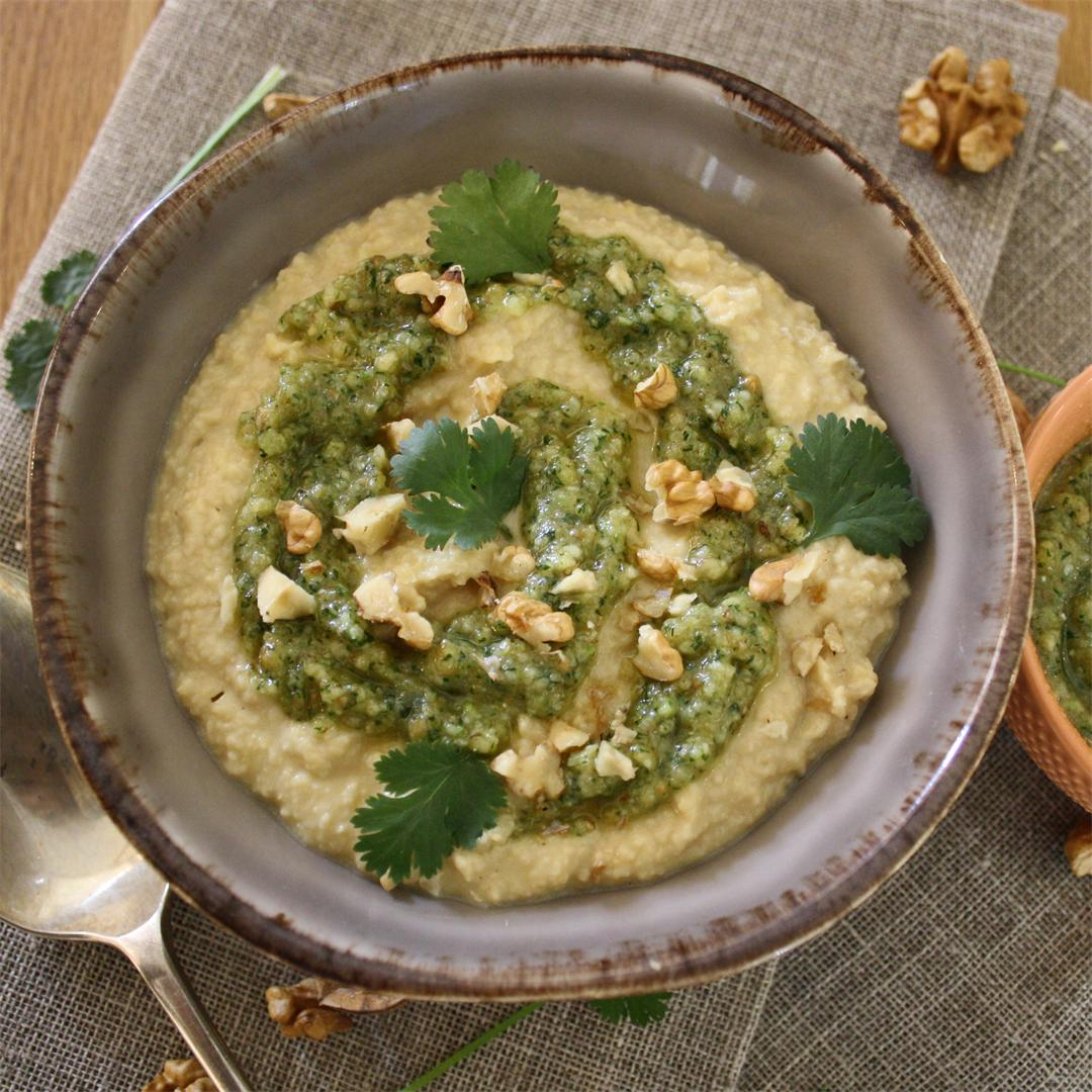 Hummus with Coriander Pesto