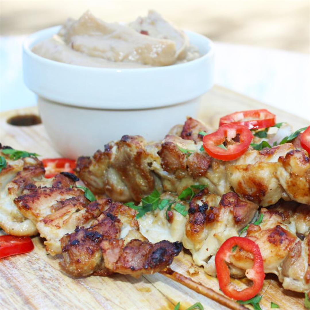 Crispy Chicken Satay with Peanut Sauce