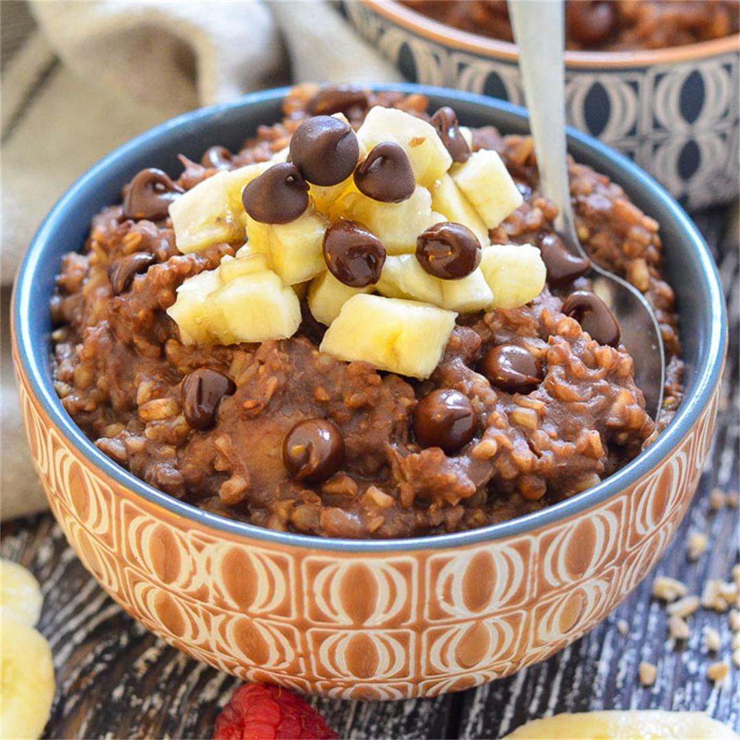 Healthy Instant Pot Chocolate Steel Cut Oats